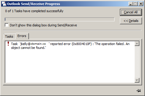 Address Book Operation Failed Object Cannot Found